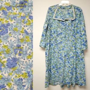 Vintage Dresses - 50s blue and green floral shirt dress